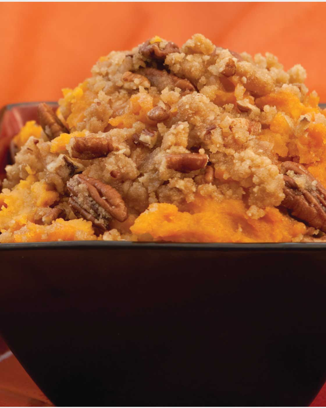 Roasted Sweet Potatoes with Crunchy Cinnamon Pecan Topping